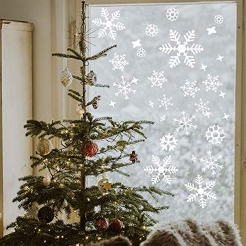 Wimaha Fensterbilder Weihnachten PVC Fensteraufkleber Schneeflocken Fensterdeko DIY Fenstersticker für Weihnachtsdeko und Winter Deko,30x40cm - 6