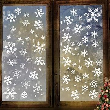 Wimaha Fensterbilder Weihnachten PVC Fensteraufkleber Schneeflocken Fensterdeko DIY Fenstersticker für Weihnachtsdeko und Winter Deko,30x40cm - 7
