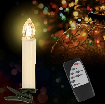 Witss 30er Christbaumkerzen Kabellos mit Fernbedienung Klipps 6H Timer Dimmbar Flackern Weihnachtsbaumkerzen für Weihnachten Hochzeit Party (30er) - 6