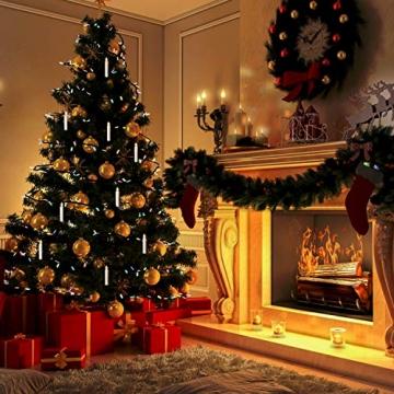 Witss 30er Christbaumkerzen Kabellos mit Fernbedienung Klipps 6H Timer Dimmbar Flackern Weihnachtsbaumkerzen für Weihnachten Hochzeit Party (30er) - 7