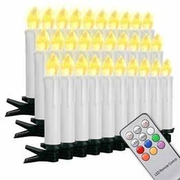 Witss 30er LED Weihnachtskerzen Kabellose Weihnachtsbaumkerzen Warmweiß Christbaumkerzen Dimmbar Baumkerzen mit Fernbedienung (30er) - 1