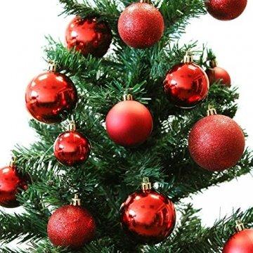 Wohaga® 70 Stück Weihnachtskugeln inkl. Transportbox Christbaumkugeln Baumschmuck Weihnachtsbaumschmuck Baumkugeln-Set, Farbe:Rot - 3