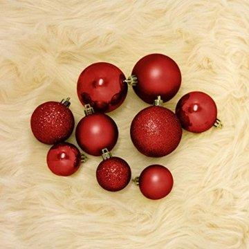 Wohaga® 70 Stück Weihnachtskugeln inkl. Transportbox Christbaumkugeln Baumschmuck Weihnachtsbaumschmuck Baumkugeln-Set, Farbe:Rot - 4