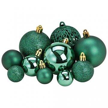 WOMA Christbaumkugeln Set in 14 weihnachtlichen Farben - 50 & 100 Weihnachtskugeln Grün aus Kunststoff - Gold, Silber, Rot & Bronze/Kupfer UVM. - Weihnachtsbaum Deko & Christbaumschmuck - 2