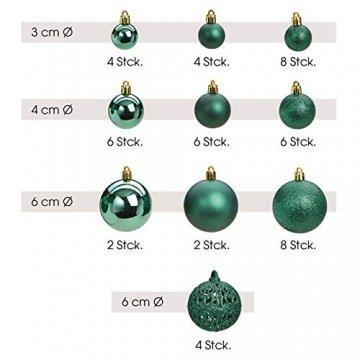 WOMA Christbaumkugeln Set in 14 weihnachtlichen Farben - 50 & 100 Weihnachtskugeln Grün aus Kunststoff - Gold, Silber, Rot & Bronze/Kupfer UVM. - Weihnachtsbaum Deko & Christbaumschmuck - 3