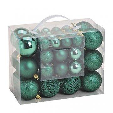WOMA Christbaumkugeln Set in 14 weihnachtlichen Farben - 50 & 100 Weihnachtskugeln Grün aus Kunststoff - Gold, Silber, Rot & Bronze/Kupfer UVM. - Weihnachtsbaum Deko & Christbaumschmuck - 1