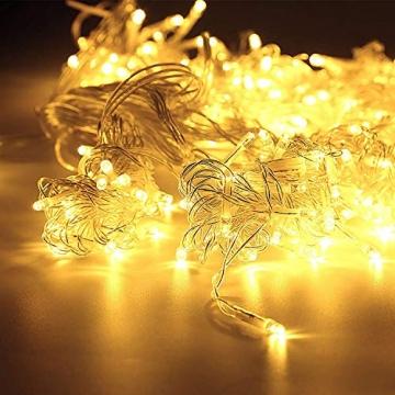 WOWDSGN 20M 200 LEDs Lichterkette, Warmweiß, 8 Leuchtmodi Dimmbar, Strombetrieben mit EU Stecker, IP44 Wasserdicht, Lichterkette für Party, Feier, Hochzeit, Weihnachtsbeleuchtung für Innen und Außen - 2
