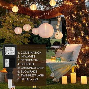 WOWDSGN 20M 200 LEDs Lichterkette, Warmweiß, 8 Leuchtmodi Dimmbar, Strombetrieben mit EU Stecker, IP44 Wasserdicht, Lichterkette für Party, Feier, Hochzeit, Weihnachtsbeleuchtung für Innen und Außen - 3