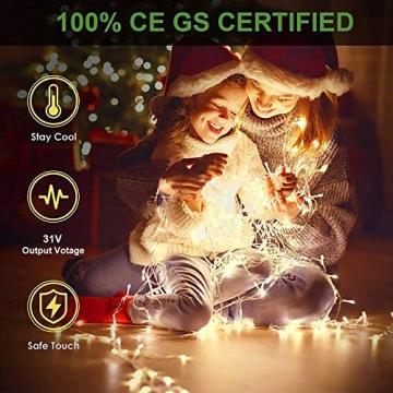 WOWDSGN 20M 200 LEDs Lichterkette, Warmweiß, 8 Leuchtmodi Dimmbar, Strombetrieben mit EU Stecker, IP44 Wasserdicht, Lichterkette für Party, Feier, Hochzeit, Weihnachtsbeleuchtung für Innen und Außen - 4