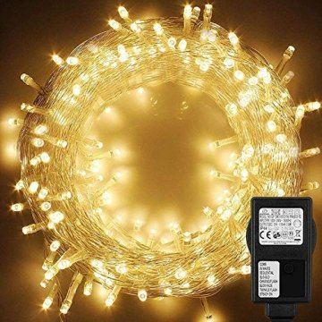 WOWDSGN 20M 200 LEDs Lichterkette, Warmweiß, 8 Leuchtmodi Dimmbar, Strombetrieben mit EU Stecker, IP44 Wasserdicht, Lichterkette für Party, Feier, Hochzeit, Weihnachtsbeleuchtung für Innen und Außen - 1