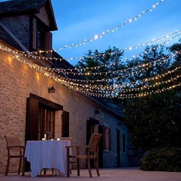 WOWDSGN 20M 200 LEDs Lichterkette, Warmweiß, 8 Leuchtmodi Dimmbar, Strombetrieben mit EU Stecker, IP44 Wasserdicht, Lichterkette für Party, Feier, Hochzeit, Weihnachtsbeleuchtung für Innen und Außen - 5
