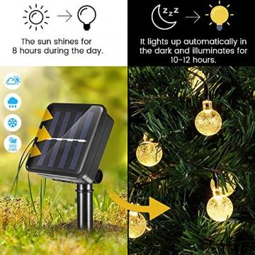 WOWDSGN Solar Lichterkette Außen, 60er LED 9M 8 Modi Kristallkugeln Lichterkette, Wasserdicht Deko für Garten, Terrasse, Fenster, Veranda, Weihnachten, Partys, Warmweiß - 2