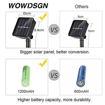 WOWDSGN Solar Lichterkette Außen, 60er LED 9M 8 Modi Kristallkugeln Lichterkette, Wasserdicht Deko für Garten, Terrasse, Fenster, Veranda, Weihnachten, Partys, Warmweiß - 3