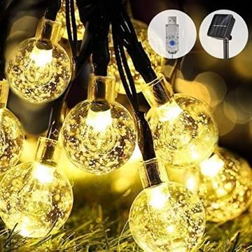 WOWDSGN Solar Lichterkette Außen, 60er LED 9M 8 Modi Kristallkugeln Lichterkette, Wasserdicht Deko für Garten, Terrasse, Fenster, Veranda, Weihnachten, Partys, Warmweiß - 1