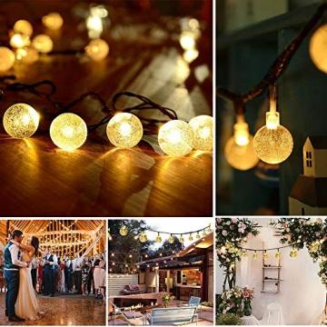 WOWDSGN Solar Lichterkette Außen, 60er LED 9M 8 Modi Kristallkugeln Lichterkette, Wasserdicht Deko für Garten, Terrasse, Fenster, Veranda, Weihnachten, Partys, Warmweiß - 5
