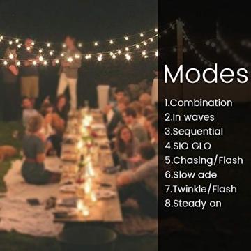 WOWDSGN Solar Lichterkette Außen, 60er LED 9M 8 Modi Kristallkugeln Lichterkette, Wasserdicht Deko für Garten, Terrasse, Fenster, Veranda, Weihnachten, Partys, Warmweiß - 6