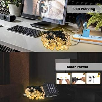WOWDSGN Solar Lichterkette Außen, 60er LED 9M 8 Modi Kristallkugeln Lichterkette, Wasserdicht Deko für Garten, Terrasse, Fenster, Veranda, Weihnachten, Partys, Warmweiß - 7