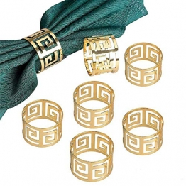 Yalulu 12 Stück Serviettenringe Servietten Halter Banquet Serviette Ring Dinner Hochzeits Weihnachten Dekoration Tischdeko (Gold) - 1