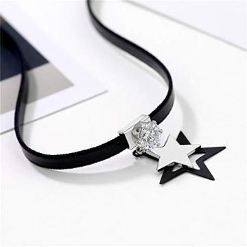 Yazilind Leder Zirkonia Anhänger Choker Halskette Verstellbares Kettenhalsband für Frauen Geburtstag Halloween Weihnachtsgeschirr # 4 - 2