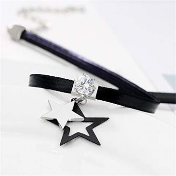 Yazilind Leder Zirkonia Anhänger Choker Halskette Verstellbares Kettenhalsband für Frauen Geburtstag Halloween Weihnachtsgeschirr # 4 - 3