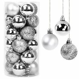 Yisscen Weihnachtskugeln Baumschmuck, Christbaumkugeln, Dekokugeln Weihnachten, Matt Glänzend Glitzernd Dekokugeln, Baumkugeln für Weihnachten Hochzeitsfest Dekoration, 24 Stück (Silber) - 1