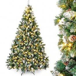 Yorbay künstlicher Weihnachtsbaum mit Beleuchtung weiß Schnee LED Tannenbaum für Weihnachten-Dekoration (210CM) - 1