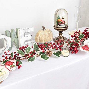 YQing 213cm Beerengirlande Stechpalme Deko, Girlanden Weihnachten mit Tannenzapfen und grünen Blättern, Künstliche Rote Beerengirlande für Urlaub, Kamin, Treppe, Tischdekoration - 2