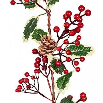 YQing 213cm Beerengirlande Stechpalme Deko, Girlanden Weihnachten mit Tannenzapfen und grünen Blättern, Künstliche Rote Beerengirlande für Urlaub, Kamin, Treppe, Tischdekoration - 3