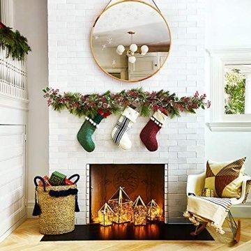 YQing 213cm Beerengirlande Stechpalme Deko, Girlanden Weihnachten mit Tannenzapfen und grünen Blättern, Künstliche Rote Beerengirlande für Urlaub, Kamin, Treppe, Tischdekoration - 6