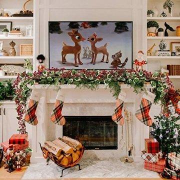 YQing 213cm Beerengirlande Stechpalme Deko, Girlanden Weihnachten mit Tannenzapfen und grünen Blättern, Künstliche Rote Beerengirlande für Urlaub, Kamin, Treppe, Tischdekoration - 7