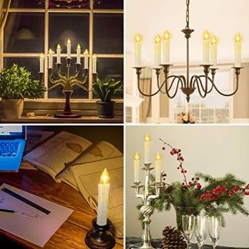 ZIYOUDOLI 40er LED Weihnachtskerzen mit Fernbedienung Timer Dimmbar, Christbaumkerzen Kabellose Weihnachtsbaumkerzen für Weihnachtsbaum Weihnachtsdeko Hochzeit (40stück) - 5