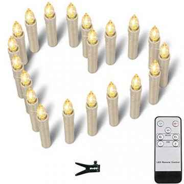 ZIYOUDOLI 40er LED Weihnachtskerzen mit Fernbedienung Timer Dimmbar, Christbaumkerzen Kabellose Weihnachtsbaumkerzen für Weihnachtsbaum Weihnachtsdeko Hochzeit (40stück) - 6