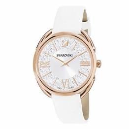 Swarovski Crystalline Glam Uhr, Damenuhr mit Rosé Vergoldetem, Funkelndem Zifferblatt mit Swarovski Kristallen und Weißem Lederarmband - 1