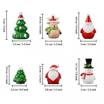 13 Stück Weihnachtsdeko Figuren Harz Miniatur Garten Figuren Kleine Schneemann Weihnachtsmann Baum Weihnachten Deko zum Schneekugeln Tischdeko Basteln Mini Ornamente für Fee Garten Bonsai Puppenhaus - 2
