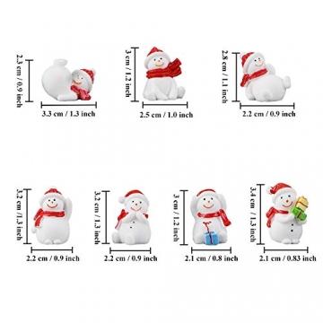 13 Stück Weihnachtsdeko Figuren Harz Miniatur Garten Figuren Kleine Schneemann Weihnachtsmann Baum Weihnachten Deko zum Schneekugeln Tischdeko Basteln Mini Ornamente für Fee Garten Bonsai Puppenhaus - 3