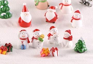 13 Stück Weihnachtsdeko Figuren Harz Miniatur Garten Figuren Kleine Schneemann Weihnachtsmann Baum Weihnachten Deko zum Schneekugeln Tischdeko Basteln Mini Ornamente für Fee Garten Bonsai Puppenhaus - 4