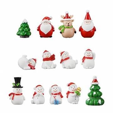 13 Stück Weihnachtsdeko Figuren Harz Miniatur Garten Figuren Kleine Schneemann Weihnachtsmann Baum Weihnachten Deko zum Schneekugeln Tischdeko Basteln Mini Ornamente für Fee Garten Bonsai Puppenhaus - 1