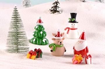 13 Stück Weihnachtsdeko Figuren Harz Miniatur Garten Figuren Kleine Schneemann Weihnachtsmann Baum Weihnachten Deko zum Schneekugeln Tischdeko Basteln Mini Ornamente für Fee Garten Bonsai Puppenhaus - 5