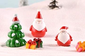 13 Stück Weihnachtsdeko Figuren Harz Miniatur Garten Figuren Kleine Schneemann Weihnachtsmann Baum Weihnachten Deko zum Schneekugeln Tischdeko Basteln Mini Ornamente für Fee Garten Bonsai Puppenhaus - 6