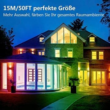 15M Led Strip, L8star LED Streifen Farbwechsel Led Lichterkette Lights, RGB Led Bänder Strips Sync zur Musik Anwendung für Schlafzimmer (2x7.5m)… - 3