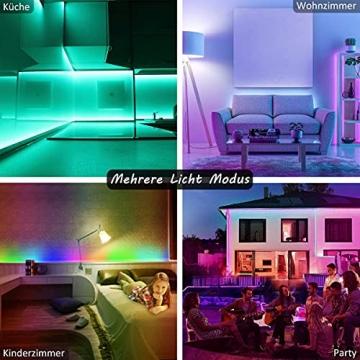 15M Led Strip, L8star LED Streifen Farbwechsel Led Lichterkette Lights, RGB Led Bänder Strips Sync zur Musik Anwendung für Schlafzimmer (2x7.5m)… - 6