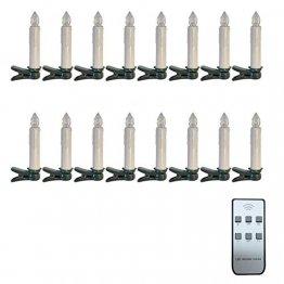 16 kabellose Kerzen LED Weihnachtsbaumkerzen Lichterkette Christbaum Weihnachtsbaum warmweiß Kerzen Innen - 1
