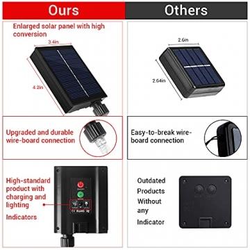 [2 Stück] Solar Lichterkette Aussen, WAGLICK neue 10M 100 LED IP65 Wasserdicht 8 Modus Balkon Lichterkette Solar Außen für Zaun, Party, Balkon, Garten, Weihnachten Dekorationen (Warmweiß) - 4