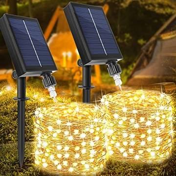 [2 Stück] Solar Lichterkette Aussen, WAGLICK neue 10M 100 LED IP65 Wasserdicht 8 Modus Balkon Lichterkette Solar Außen für Zaun, Party, Balkon, Garten, Weihnachten Dekorationen (Warmweiß) - 1