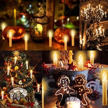 20-60er Weinachten LED Kerzen Weihnachtsbeleuchtung Lichterkette Kerzen kabellos Weihnachtskerzen Weihnachtsbaum Kerzen mit Fernbedienung kabellos Baumkerzen(milchweisse Hülle, 20er) - 2