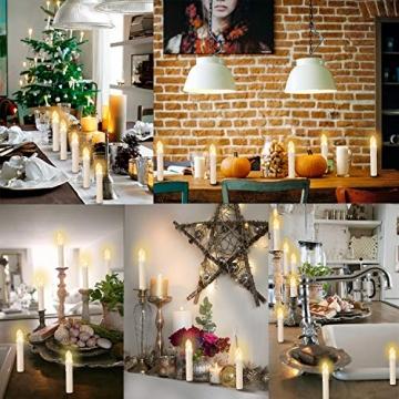 20-60er Weinachten LED Kerzen Weihnachtsbeleuchtung Lichterkette Kerzen kabellos Weihnachtskerzen Weihnachtsbaum Kerzen mit Fernbedienung kabellos Baumkerzen(milchweisse Hülle, 20er) - 3