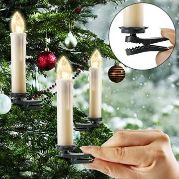 20-60er Weinachten LED Kerzen Weihnachtsbeleuchtung Lichterkette Kerzen kabellos Weihnachtskerzen Weihnachtsbaum Kerzen mit Fernbedienung kabellos Baumkerzen(milchweisse Hülle, 20er) - 4