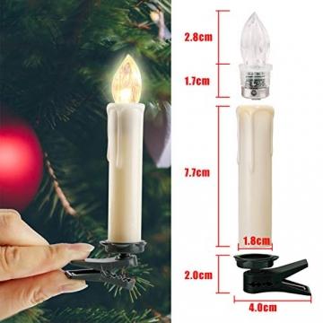 20-60er Weinachten LED Kerzen Weihnachtsbeleuchtung Lichterkette Kerzen kabellos Weihnachtskerzen Weihnachtsbaum Kerzen mit Fernbedienung kabellos Baumkerzen(milchweisse Hülle, 20er) - 5