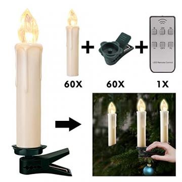 20-60er Weinachten LED Kerzen Weihnachtsbeleuchtung Lichterkette Kerzen kabellos Weihnachtskerzen Weihnachtsbaum Kerzen mit Fernbedienung kabellos Baumkerzen(milchweisse Hülle, 20er) - 6