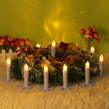 30er LED Kerzen mit Batterien Halter Fernbedienung Timer IP64 Dimmbar warmweiß Weihnachtskerzen Lichterkette Fenster Beleuchtung für Weihnachtsbaum Hochzeit Geburtstags Kirche Deko, beige - 4